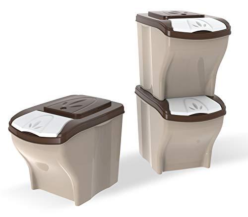 PETGARD Futterbehälter Futtertonne stapelbares 3er Set 3 x 20 Liter Mülltonne Vorratsbehälter