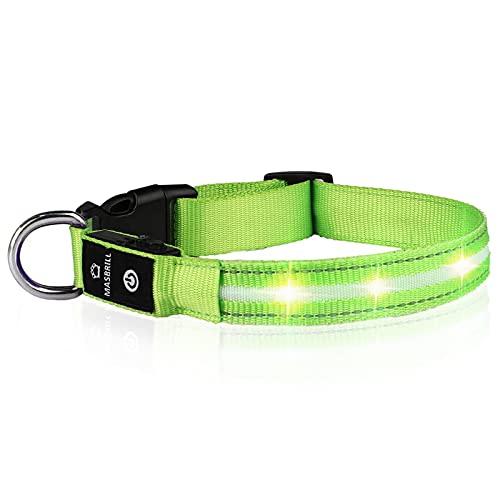 MASBRILL LED Leuchthalsband für Hunde Aufladbar Hundehalsband Leuchtend 100% Wasserdicht 3 Blinkende Lichter Verstellbare Haustier Sicherheit Halsband für Klein Mittlere Große Hunde, Grün XS