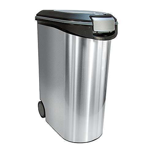 Curver Futter-Container 20kg I 54L Metal, schwarz/Silber, 49,3 x 27,8 x 60,5 cm, 1 Stück (1er Pack), 2068935